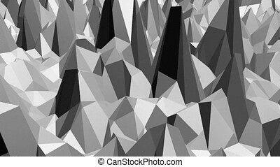 Abstract simple black and white low poly waving 3D surface as space backdrop. Grey geometric vibrating environment or pulsating background in cartoon low poly popular stylish 3D design.