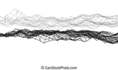 Abstract simple black and white waving 3D grid or mesh as cartoon background. Grey geometric vibrating environment or pulsating background 1.