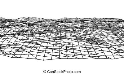 Abstract simple black and white waving 3D grid or mesh as complexity background. Grey geometric vibrating environment or pulsating background.