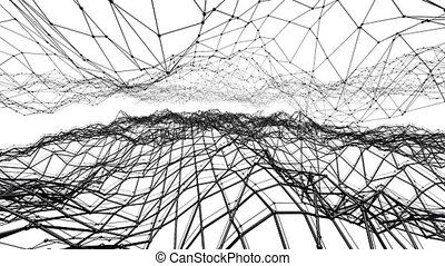 Abstract simple black and white waving 3D grid or mesh as dream background. Grey geometric vibrating environment or pulsating background.