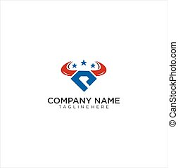 Abstract simple bull head logo With Star . Abstract Shield Logo Design