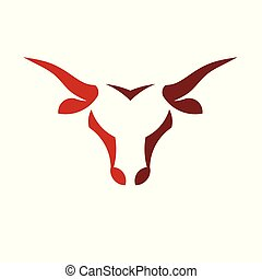abstract simple Bull head vector logo