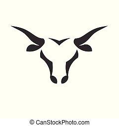 abstract simple Bull head vector logo