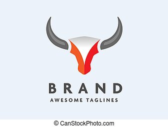 simple Bull head vector logo