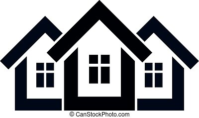 Abstract simple country houses vector illustration, homes...