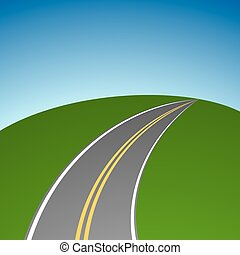 Abstract simple highway vanishing in distance vector background.