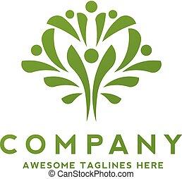 simple people as green tree Logo