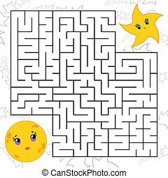 Abstract simple square isolated labyrinth. Black color on a white background. An interesting game for children. Find the path from the cartoon of the moon to the cute star. Simple flat vector illustration.