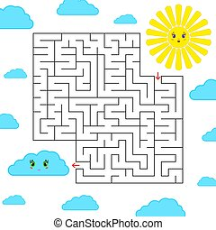 Abstract simple square isolated labyrinth. Black color on a white background. An interesting game for children. Find the way from the cartoon of the sun to the cute cloud. Simple flat vector illustration.