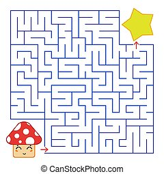 Abstract simple square isolated labyrinth. Blue color on a white background. An interesting game for children. Find the path from the cartoon mushroom to the cute star. Simple flat vector illustration.