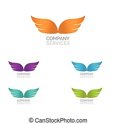 Abstract simple wings logo. Vector logo icon