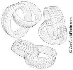 Abstract Six Car Wheel Tire Chain