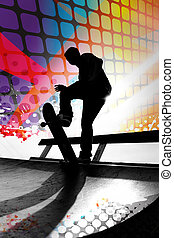 Abstract Skateboarder