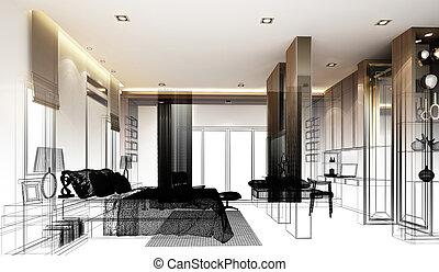 abstract sketch design of interior bedroom,3d rendering