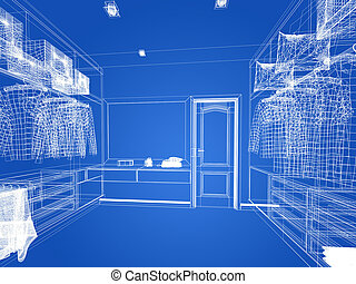 abstract sketch design of interior walk-in closet