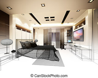 abstract sketch design of interior bedroom,3d rendering