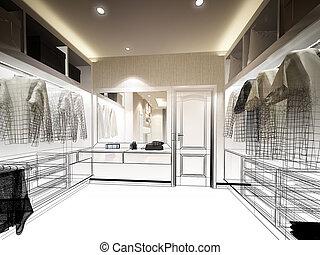 abstract sketch design of interior walk-in closet