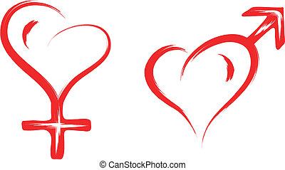 male and female sex heart symbol - abstract sketch ...
