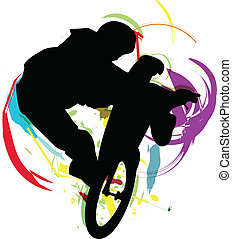 Abstract sketch of biker. Vector