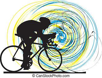 Abstract sketch of biker.