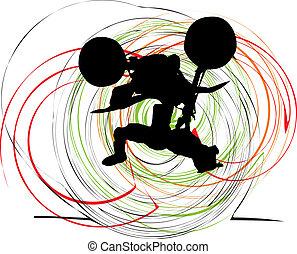 Abstract sketch of biker. Vector