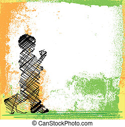 Abstract sketch of children walking. Vector illustration