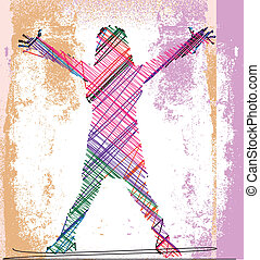 Abstract sketch of girl with open arms. Vector illustration