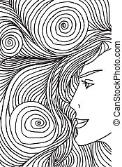 Abstract sketch of woman face. Vector illustration.