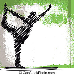 Abstract Sketch of Woman meditating and doing yoga. Vector...