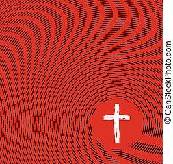 Abstract Sketch Waves Surrrounding Christian Cross Illustration