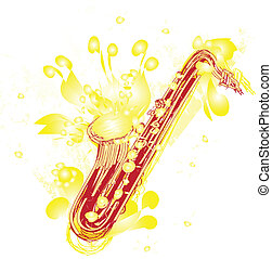 Abstract Sketchy Sax - A fun sketchy stylized illustration...