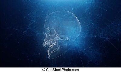 Abstract skull animation with blue plexus background