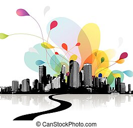 Abstract sky illustration with city scape.