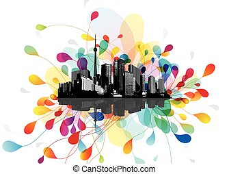 Abstract sky illustration with floating city scape.