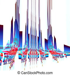 Abstract sky scraper illustration. 3D like shapes. Blue red...