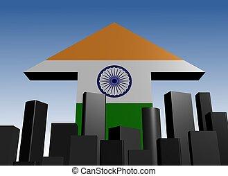 abstract skyline and India flag arrow illustration
