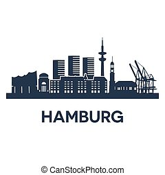 Hamburg - Abstract skyline of city Hamburg, vector...