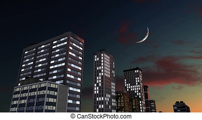 Abstract skyscrapers against night sky with moon