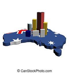 skyscrapers on Australia map flag
