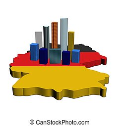 skyscrapers on Germany map flag