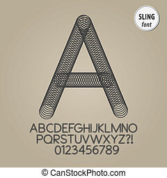 Abstract Sling Alphabet and Digit Vector