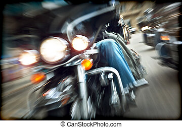 Abstract slow motion, bikers riding motorbikes, drivers...