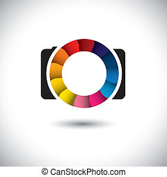 abstract SLR digital camera with colorful shutter vector...