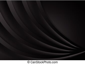 Abstract smooth black wavy corporate background. Dark vector...