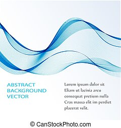 Abstract smooth color wave vector Curve flow blue motion illustration. Smoke design