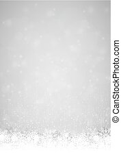 snow flakes on bottom side, abstract fall of snow with silver colored background