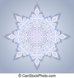 Abstract snowflake shape design with shadow.