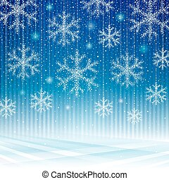 Abstract snowflakes blue background