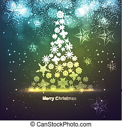 Abstract Snowflakes christmas tree bright colorful vector