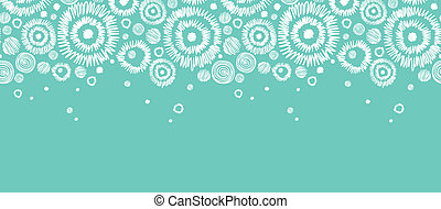 Abstract Snowflakes Horizontal Seamless Pattern Border